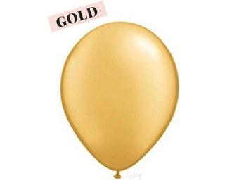 Gold metallic balloons | 11 inch solid latex balloons