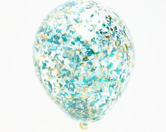 Light Blue + Aqua + Gold Glitter Confetti Balloon   11 inch, 16 inch, 18 inch or 5 inch confetti balloon   Mermaid balloon