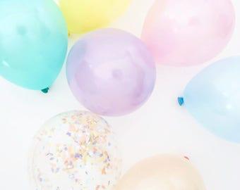 Pastel Mini Balloons   12 balloons   5 inch balloons with pastel confetti balloons