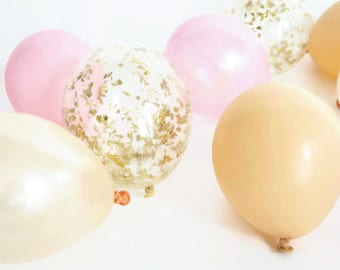Blush, Nude and Pink Mini Balloon Bunch    12 balloons   5 inch balloons with gold confetti balloons