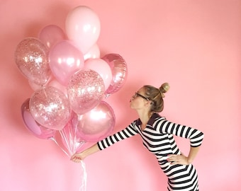Pink Balloon Bouquet with Pink Glitter Confetti Balloons | Giant Pink Helium Balloon Bunch | FREE SHIPPING