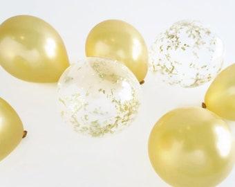 Gold Mini Balloon Bunch    12 balloons   5 inch balloons with gold confetti balloons