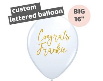 Big 16 inch White Lettered Congrats Balloon   Custom Calligraphy Balloon