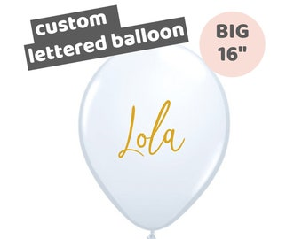 Big 16 inch White Lettered Name Balloon   Custom Calligraphy Name Balloon