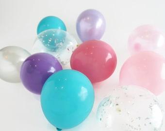 Unicorn Mini Balloon Bunch    12 balloons   5 inch balloons pink, purple, blue with silver confetti balloons