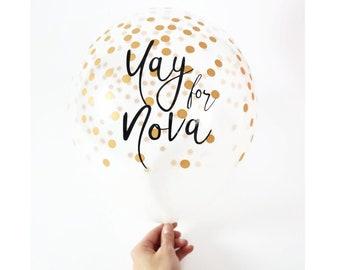 Custom Lettered Confetti Balloon   Personalized Yay Balloon   Latex balloon with custom vinyl decal