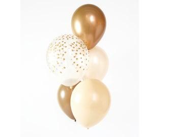 Copper Chrome, Nude Blush, Pearl Peach and Confetti balloon bouquet    Neutral helium Balloon Bouquet