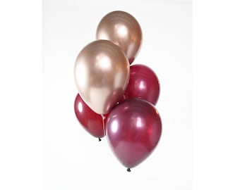 Burgundy + Rose Gold Chrome Balloon Bouquet   Helium latex balloon bunch