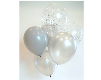 Silver Balloon Bouquet with silver glitter confetti balloons   Bunch of 6 balloons