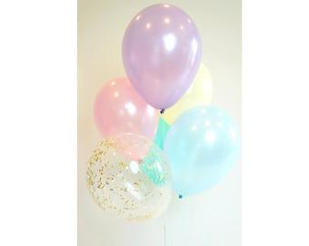 Pastel Balloon Bouquet with Gold Glitter Confetti Balloon   Set of 6 Balloons