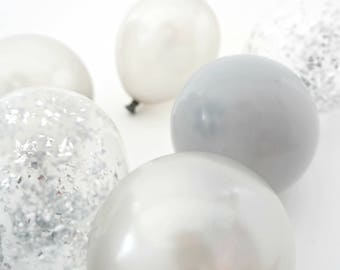 Silver Mini Balloons   12 balloons   5 inch balloons with silver confetti balloons