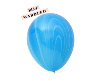 Blue Marbled balloons   11 inch agate latex balloons