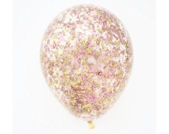 Rose Gold Pink + Gold Glitter Confetti Balloon | 11 inch, 16 inch, 18 inch, 36 inch or 5 inch confetti balloon