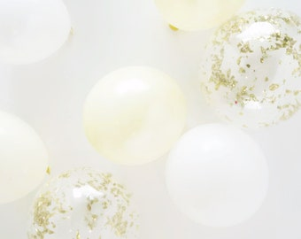 Ivory and Gold Mini Balloon Bunch    5 inch balloons with gold glitter confetti balloons   Set of 12