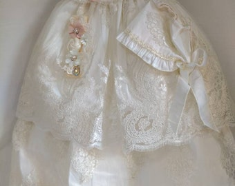 8651e0a2b Girl Ivory cotton baptism christening gown with detachable skirt, girl christening  gown, baby girl gown, blessing dress, christening dress