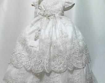74e818c80 Girl white cotton baptism christening gown with detachable skirt, Girl Christening  gown, baby girl gown, blessing dress, christening dress