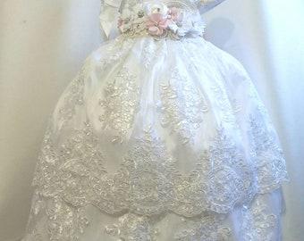 847ff4ca1039 Girl Ivory cotton baptism christening gown with detachable skirt, girl  christening gown, baby girl gown, blessing dress, christening dress