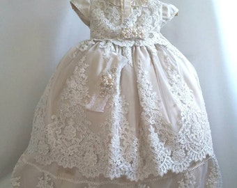 fe4d81773 Girl ivory cotton baptism christening gown with detachable skirt, Girl Christening  gown, baby girl gown, blessing dress, vestido bautizo