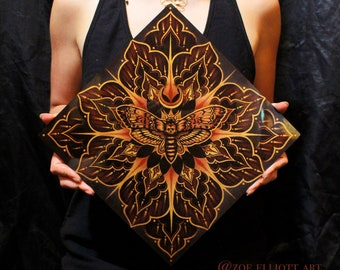 Death Moth Artwork | Mandala Print | Metal Glossy Print | Crescent Moon Art | Mandala Art | Death Moth Print | Acrylic Painting | Witchy Art