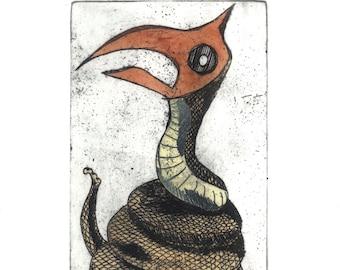 Snakebird, original etching, hand colored