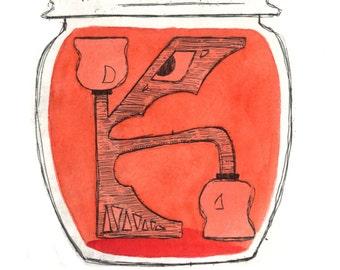 Alphabet print, K, original copper plate etching