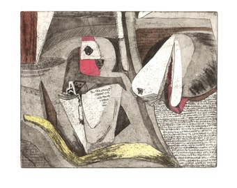 Sometimes I Say Too Much, original etching, hand colored print