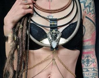 Tribal necklace-Body Jewelry-2in1-choker body chain afro choker statement jewelry gypsy ethnic necklace arrowhead ethnic swiss women art