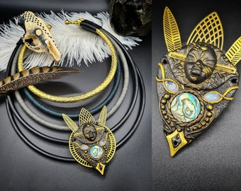 Tribal Goddess Choker Necklace-epic tribal jewelry gypsy ethnic jewelry dark goddess moonstone healing gemstone african style abalone shell