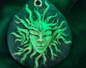 Dark Elf Pendant-trippy pendant glow in the dark gothic fluorescent UV reactive psychedelic jewelry fairy psytrance alien extraterrestrial