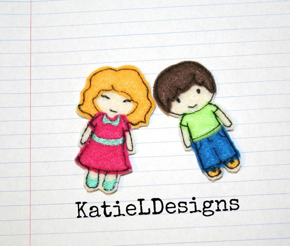 ITH mini fieltro a niña y niño muñecas máquina bordado diseño | Etsy