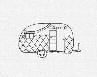 Retro Camper with Lights Machine Embroidery Pattern Design Instant Download 4 Sizes Modern Redwork Vintage includes Mini Size Christmas