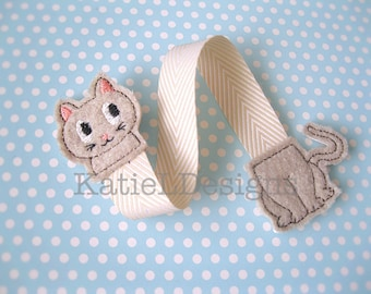 ITH Cat Bookmark Machine Embroidery Design Pattern Download In The Hoop Animal Book Ribbon 4x4