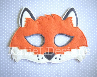 ITH Fox Mask Machine Embroidery Design Pattern Download 5x7 6x10 In The Hoop Halloween Costume Animal