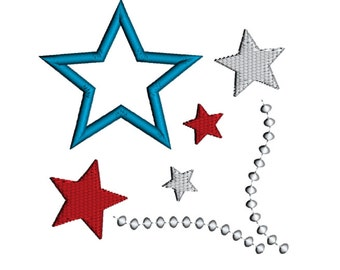 Star Fireworks Applique Machine Embroidery Design Pattern Download 4x4 5x7 6x10 4th of July Applique Design Patriotic