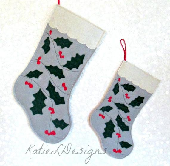 ITH fieltro Navidad acebo Media Set bordado diseño patrón | Etsy