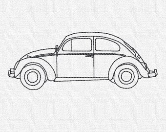 Volkswagon Beetle Redwork Machine Embroidery Pattern Design Download 4x4 5x7 6x10 VW Bug Machine Embroidery Design