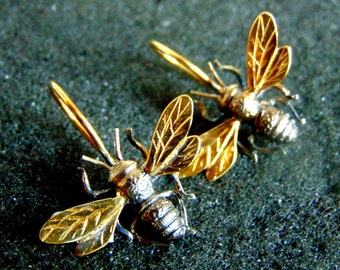 Sterling Silver Earrings, Silver 925 and Gold Plated Silver Bee Earrings, Honey Bee Jewelry,Unique Silver Earrings for Women,Gift Idea