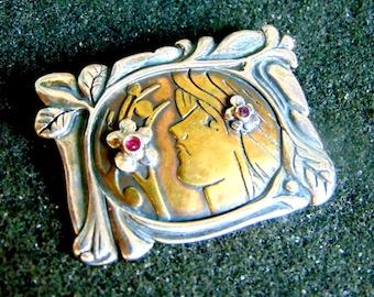 Silver Bronze Brooch,Sterling Silver Bronze and Garnet Brooch,Womens Vintage Jewelry,Gemstone Womens Brooch,Gift for Women,Artisan Jewelry