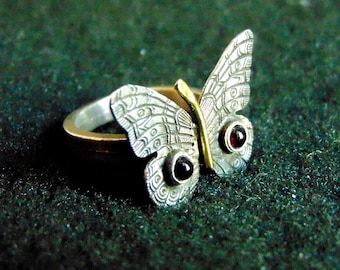 Silver Butterfly Ring,Sterling Silver, Bronze and Garnet Statement Ring,Womens Butterfly Jewelry,Ring for Women,Gift for Her,Artisan Jewelry