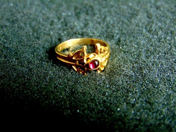 Antique Garnet Ring, Garnet Ring Vintage, Bohemia… - image 1