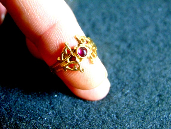 Antique Garnet Ring, Garnet Ring Vintage, Bohemia… - image 2