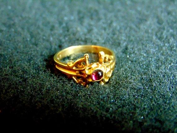 Antique Garnet Ring, Garnet Ring Vintage, Bohemia… - image 3