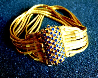 18k Gold Bracelet,Vintage Gold 750 Sapphire Bracelet,Antique Womens Solid Gold Bracelet,Sapphire Jewelry,Artisan Jewelry,Greek Art
