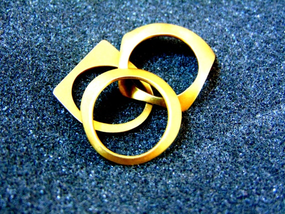 Beautiful 18k gold geometric rings-Set of three go