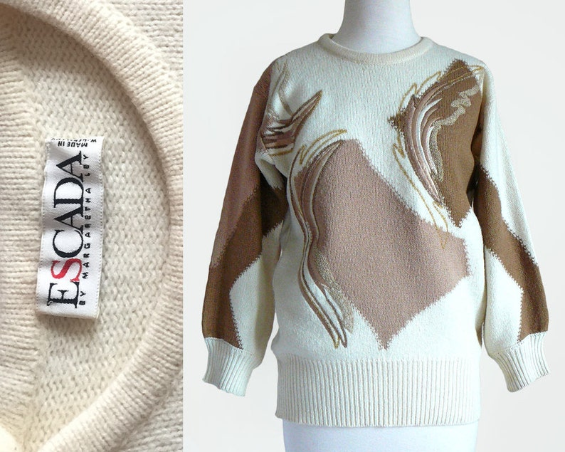 Vintage 80/'s ESCADA Documented Wool Knit Cream /& Brown Embroidered Pullover Sweater Top  Small-Medium