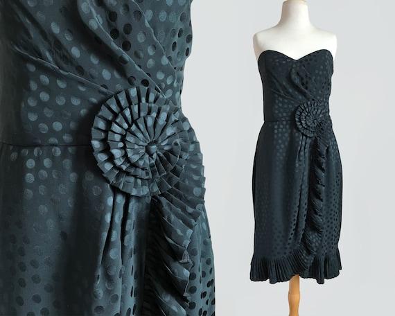 Vintage 80s Albert Nipon Black Silk Strapless Cock