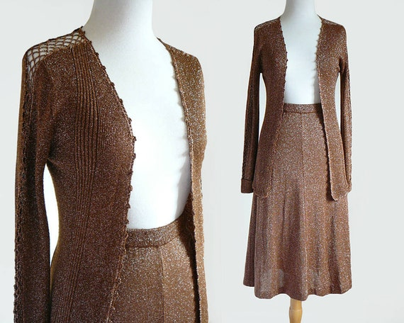 Vintage 70s Metallic Lurex Knit Skirt & Crochet Ca