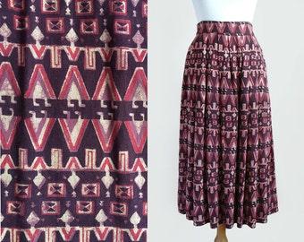 Vintage 80's India Made High Waisted Batik Print Cotton Pleated Midi Maxi Skirt by Anokhi / Small-Medium
