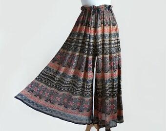 70's India Cotton Gauze Floral Block Print Hippie Bohemian Maxi Palazzo Culottes Pants Skirt / Free Size