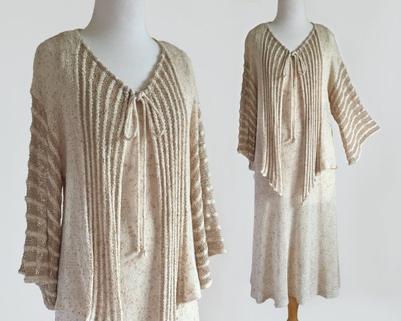 Vintage 70s Designit Hand Knit Dress & Cardigan Tw